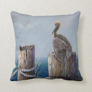 Almofada Arte acrílica do oceano do pelicano de Brown da