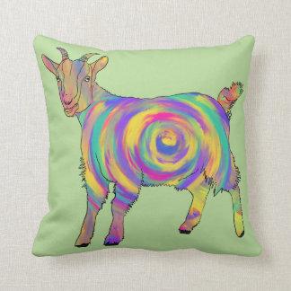 Almofada Arte animal espiral colorida da cabra psicadélico