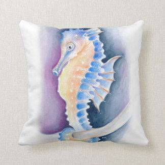 Almofada Arte da aguarela do cavalo marinho
