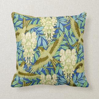 Almofada Arte Nouveau das glicínias e dos pássaros floral