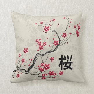 Almofada Arte oriental da flor de cerejeira de Sakura do