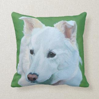 Almofada Arte suíça branca do cão de pastor em um descanso