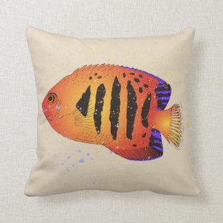 Almofada Arte tropical do aquário do Angelfish alaranjado