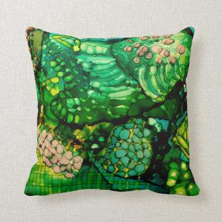 Almofada Arte verde abstrata do original no travesseiro