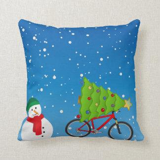 Almofada Árvore da bicicleta do boneco de neve no