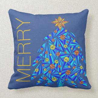 Almofada Árvore de Natal azul Chevron reversível colorido