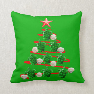 Almofada Árvore de Natal das tartarugas de mar verde