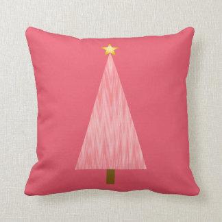 Almofada Árvore de Natal moderna cor-de-rosa coral de Ombre