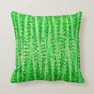 Almofada As listras e os pontos do cetim abstraem, verde