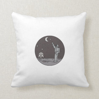 Almofada Astronauta que aponta linha da canela da lua das