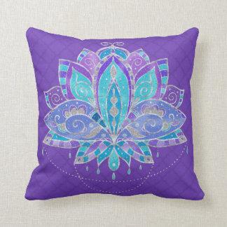 Almofada Azul, cerceta Lotus de Puple com acentos de prata