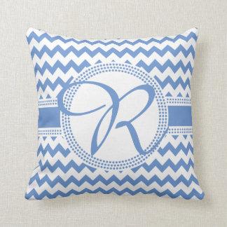 Almofada Azul Cursive e branco do monograma da cor feita