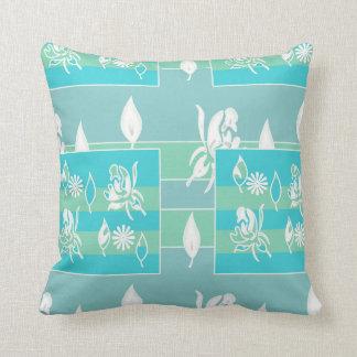 Almofada Azul, travesseiro decorativo floral branco da