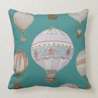 Almofada Balão de ar quente lunático - verde majestoso