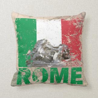 Almofada Bandeira afligida Italia de Roma no mapa de Europa
