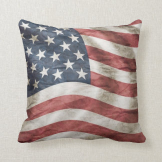 Almofada Bandeira branca e azul vermelha dos EUA do vintage