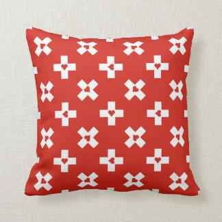 Almofada Bandeira da suiça com teste padrão do coração