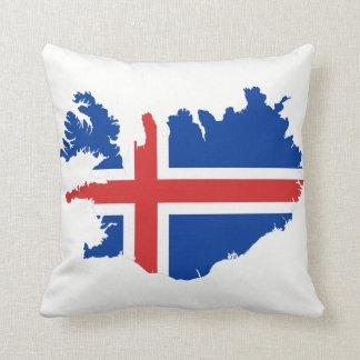 Almofada Bandeira do mapa de Islândia