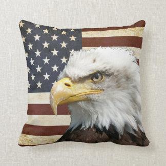 Almofada Bandeira dos E.U. EUA do vintage com americano