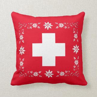 Almofada Bandeira e edelweiss suíços