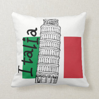 Almofada Bandeira italiana e torre inclinada de Pisa