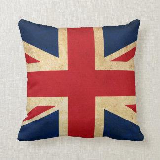 Almofada Bandeira Union Jack de Reino Unido do Grunge do