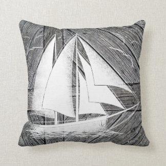 Almofada Barco branco de madeira rústico náutico