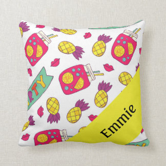 Almofada Batom amarelo cor-de-rosa personalizado bonito da