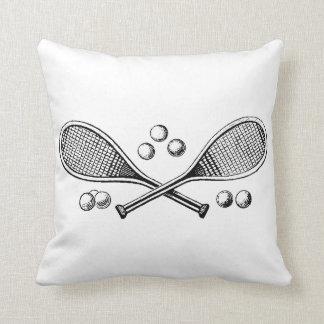 Almofada Bolas de tênis cruzadas vintage da raquete de