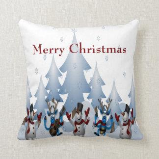 Almofada Boneco de neve bonito do Natal e banda da rena