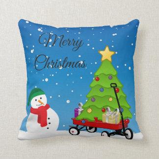 Almofada Boneco de neve do Natal, árvore e travesseiro