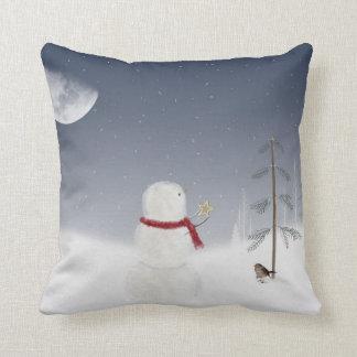 Almofada Boneco de neve do Natal com estrela do ouro