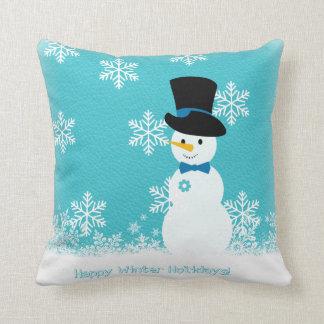 Almofada Boneco de neve engraçado branco azul com flocos de