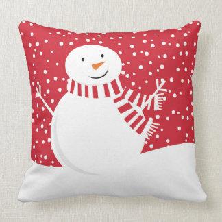 Almofada boneco de neve vermelho e branco contemporâneo