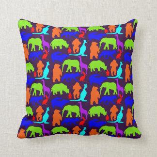 Almofada Bonito brilhante colorido dos animais selvagens