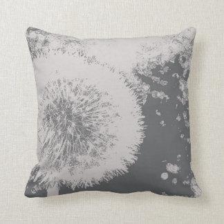 Almofada Branco cinzento da flor abstrata floral moderna do
