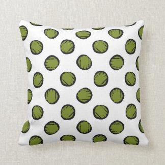 Almofada Branco com círculos/pontos do verde de musgo