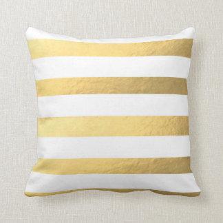 Almofada Branco e travesseiro listrado ouro