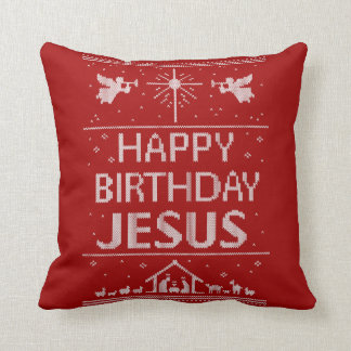 Almofada Branco vermelho religioso do Natal de Jesus do