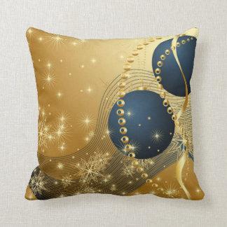 Almofada Brilhando o Natal dourado & azul