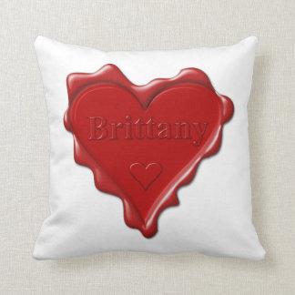 Almofada Brittany. Selo vermelho da cera do coração com
