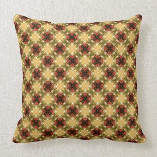 Almofada Brown, verde e teste padrão abstrato do creme