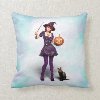 Almofada Bruxa bonito do Dia das Bruxas com gato preto e