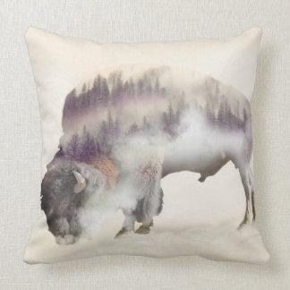 Almofada búfalo-paisagem exposição-americana Búfalo-dobro