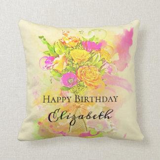 Almofada Buquê da flor da aguarela do aniversário