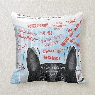 Almofada Cães de NY: Travesseiro quadrado do acento das