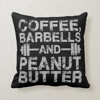 Almofada Café, Barbells e manteiga de amendoim - exercício