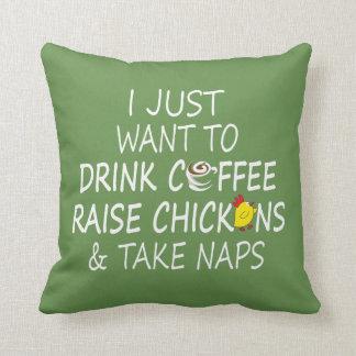 Almofada Café, galinhas e sestas