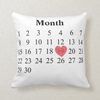 Almofada calendário de um mês de 30 dias - mova o coração