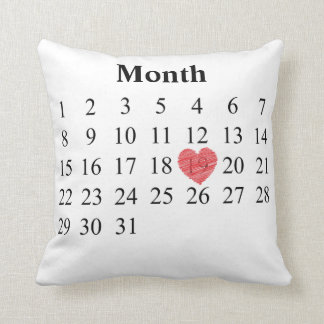 Almofada calendário de um mês de 31 dias - mova o coração